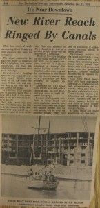 This 1970 newpaper clipping shows the first boat to enter the River Reach moat.