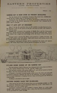 Eastern Properties' flyer announcing status of Sunrise Key in 1958.