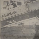 The gash on the Haitian freighter from running into the Commodore Brook support