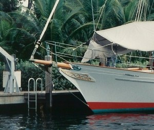 Clipper bow with trailboards, bowsprit