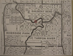 Map showing relations of Riverside, Sailboat Bend, and Tarpon River communities
