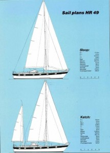 Hallberg Rassy 49 Sail Plans