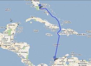 Route From Miami to Cartagena